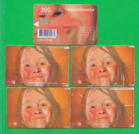 SLOVENIA  5x Phonecard 300 Impulz Telekom Slovenije Happiness, Face Portrait Izrazni Portret Veselje - Slovenia