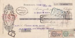Lettre Change 28/4/1934 Chèque Ets Ch YCRE Alcools Dénaturés Combustibles  BORDEAUX Pour Maisonnette Barbezieux 16 - Lettres De Change