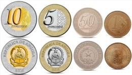 ANGOLA CURRENCY SET 4 COINS 50 CENTIMOS, 1, 5, 10 KWANZAS BIMETALL 2012 UNC - Angola