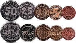 ZIMBABWE CURRENCY SET 1, 5, 10, 25, 50 CENTS BOND COINS 2014 UNC - Zimbabwe