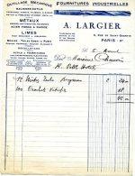 FACTURE MAISON A. LARGIER  6 RUE DE SAINT QUENTIN PARIS Xem  FOURNITURES INDUSTRIELLERS - 1900 – 1949