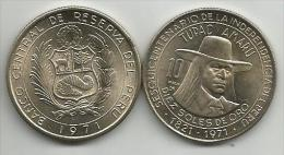 Peru 10 Soles De Oro 1971. TUPAC AMARU High Grade - Pérou