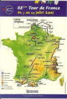 CP Dynapost Carte Tour De France 2001 + Cachet 38 Chamrousse Ville étape Daté Du Jour De La Course - Vélo Sport Cyclisme - Wielrennen