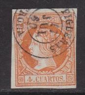 ESPAÑA 1860 - Isabel II Sello Usado 4 Cu. Edifil Nº 52 Fechador Figueras (Gerona) - 1850-68 Königreich: Isabella II.