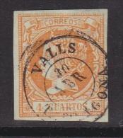 ESPAÑA 1860 - Isabel II Sello Usado 4 Cu. Edifil Nº 52 Fechador Valls (Tarragona) - 1850-68 Royaume: Isabelle II
