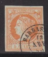 ESPAÑA 1860 - Isabel II Sello Usado 4 Cu. Edifil Nº 52 Fechador Barbastro (Huesca) - 1850-68 Royaume: Isabelle II