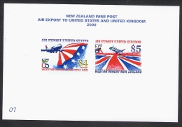 New ZEaland Wine Post Air Export Stamps On Numbered Presentation Card - New Zealand