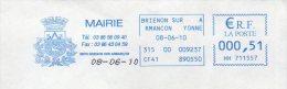 EMA Mairie Yonne Brienon Sur Armançon Blason : 2 Pommes Et Cheval Ailé - Poststempel (Briefe)