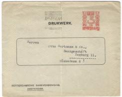 OLANDA - NEDERLAND - Paesi Bassi - 1927 - 3 Cent + EMA, Red Cancel - Bank - Rorrerdamsche Bankvereeniging Amsterdam -... - Affrancature Meccaniche Rosse (EMA)