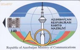 Azerbaijan, AZE-BTR-007, Ministry Of Communications, Cellphones, 2 Scans. - Azerbaïjan