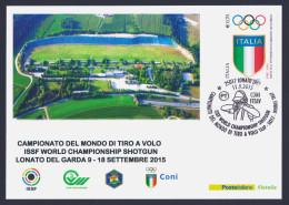 """2015 ITALIA REPUBBLICA """"CAMPIONATO DEL MONDO DI TIRO AL VOLO - LONATO DEL GARDA"""" CARTOLINA MAXIMUM (ANN. LONATO) - Maximum Cards"""