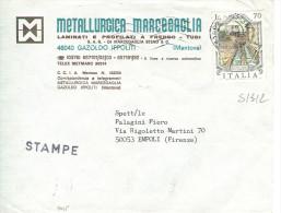 FONTANE L'AQUILA £.70, S 1312, ISOLATO IN TARIFFA STAMPE, 1945, TIMBRO POSTE MANTOVA,METALLURGICA MARCEGAGLIA - 6. 1946-.. Repubblica