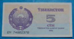 UZBEKISTAN 5 SOM 1992, AUNC - Uzbekistan