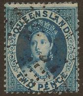 QUEENSLAND 1860 2d Blue QV SG 13 U* #QY114 - 1860-1909 Queensland