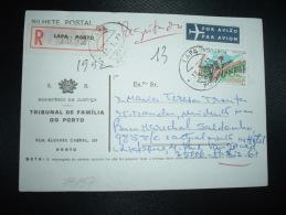 CPR PAR AVION Pour FRANCE TP CASTELO BRANCO 20 S 00 OBL.17-1-77 LAPA + TRIBUNAL DE FAMILIA DO PORTO - 1910-... République