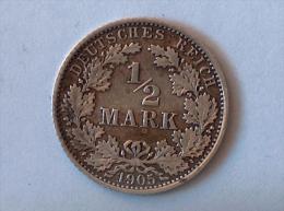 ALLEMAGNE 1/2 MARK 1905 A ARGENT SILVER Germany Deutschland - [ 2] 1871-1918: Deutsches Kaiserreich