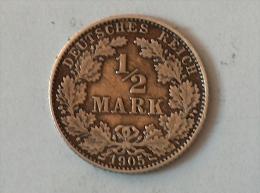 ALLEMAGNE 1/2 MARK 1905 D ARGENT SILVER Germany Deutschland - [ 2] 1871-1918: Deutsches Kaiserreich