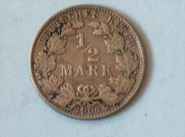 ALLEMAGNE 1/2 MARK 1906 D ARGENT SILVER Germany Deutschland - [ 2] 1871-1918: Deutsches Kaiserreich