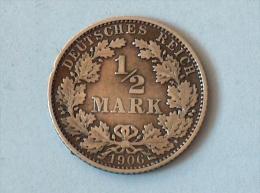 ALLEMAGNE 1/2 MARK 1906 E ARGENT SILVER Germany Deutschland - [ 2] 1871-1918: Deutsches Kaiserreich