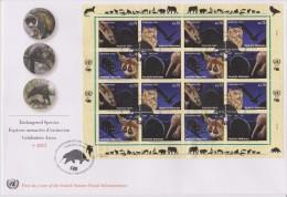 United Nations FDC Mi 793-796 Fullsheet Endangered Species - Banded Civet - Pharaoh Eagle-owl Greater Slow Loris Echidna - FDC