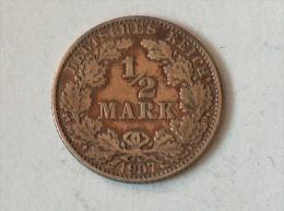 ALLEMAGNE 1/2 MARK 1907 J ARGENT SILVER Germany Deutschland - [ 2] 1871-1918: Deutsches Kaiserreich
