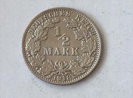 ALLEMAGNE 1/2 MARK 1918 A ARGENT SILVER Germany Deutschland - [ 2] 1871-1918: Deutsches Kaiserreich