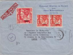 INDES NEERLANDAISES - NEDERL.INDIES 1947 - Lettre Par Avion Taxée De BATAVIA Pour PARIS - Netherlands Indies