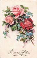 Carte Postale Ancienne Fantaisie - Bonne Fête - Leurs - Roses - Fantaisies