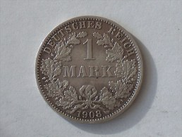 ALLEMAGNE 1 MARK 1908 A ARGENT SILVER Germany Deutschland Ein - [ 2] 1871-1918: Deutsches Kaiserreich