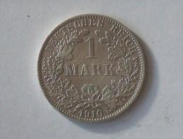ALLEMAGNE 1 MARK 1910 A ARGENT SILVER Germany Deutschland Ein - [ 2] 1871-1918: Deutsches Kaiserreich