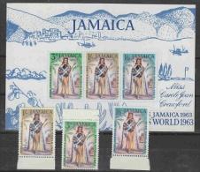 Jamaica 1963 Miss World 3v + M/s ** Mnh (26459A) - Jamaica (1962-...)