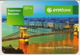 Pocket Calendars Russia - 2014 - Bank - Budapest - The River - The Bridge - The Ship - Advertising - Calendarios