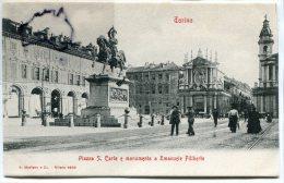 - 6593 - Torino - Piazza S. Carlo E Monumento A Emanuele Filiberto, Précurseur, Peu Courante, Animation, TTNE, Scans.. - Places