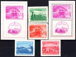 YOUGOSLAVIE - N° 523/526** + BF N° 3** Dentelé Et Non Dentelé - 1849-1949 - Centenaire Du Chemin De Fer. Cote 550€ - Neufs