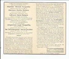 Bidprentje:    Families Verspaillie & Delaere: Oorlogsslachtoffer Kortrijk 1944. - Images Religieuses