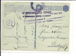 Italie  Carte Militaire  1942  , 14° Régiment Du Génie  (101/102) - 1900-44 Victor Emmanuel III