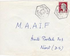 MOSELLE-COCHEREN 5-11-1963 / 0.25 DECARIS Cachet Manuel Type F 7 Sur De Vant De Lettre - 1961-....