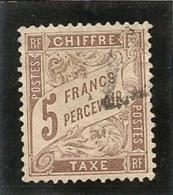 France Taxe N ° 27, 5 Francs Marron Oblitéré Premier Choix Trés Bon Centrage - Postage Due