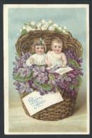 CPA - Carte Fantaisie - Voeux - Bonne Année - Enfant - Fleur Pensée - Muguet - Bébé - Baby - Embossed - Relief    // - Nouvel An