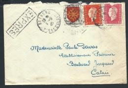 FRANCE - Enveloppe En Exprés De Bethune Pour Calais En 1945 - A Voir - Lot  P14022 - Posttarife