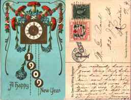 Année Date Millesime - 1909 - Horloge Minuit Champignons - Gaufrée, Embossed Vignette American Red Cross - Nouvel An