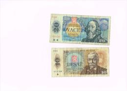 Československo - 20 Korun-1988 - 10 Korun 1986 Tchécoslovaquie - Billets