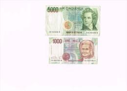 Italy 5000 LIRE CINQUEMILA V.BELLINI 1985- 1000 Lire Mille 1990   - Italia - [ 2] 1946-… : Republiek