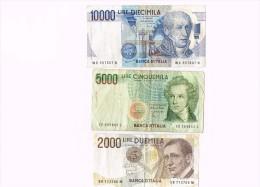 10000 Lire 1984, Italy -  5000 LIRE CINQUEMILA V.BELLINI 1985- 2000 LIRE DUEMILA  - Italia - Non Classificati