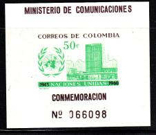 Columbia MNH Scott #725 50c UN Headquarters, Emblem - 15th Anniversary United Nations - Colombie