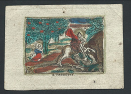 """Image Religieuse Colorisée """"S GEORGUS"""" (Saint Georges Tuant Le Dragon) Sur Papier épais Vergé - Devotieprenten"""