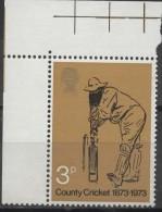 GREAT BRITAIN 1973 County Cricket 1873-1973 - 3p W. G. Grace  MNH - 1952-.... (Elizabeth II)