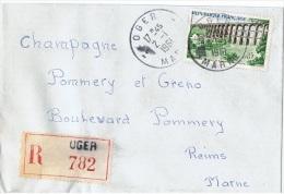 FRrec-L26 - FRANCE N° 1240 Sur Lettre Carte De Visite Recommandée De Oger Pour Reims - France