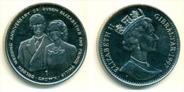1997 Gibraltar Royal Golden Wedding Anniversary Crown Coin - Gibraltar