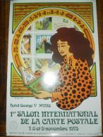 AFFICHE ORIGINALE PARIS 1er SALON DE LA CARTE POSTALE 1975 HOTEL GEORGE V TAMPON OBLITERATION ILLUSTRATEUR FIX PHILIPPE - Posters